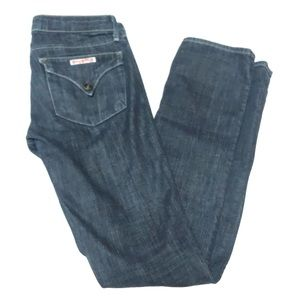 Hudson Dark Wash Low Rise Straight Jeans Designer